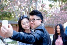 Random couple taking selfie!